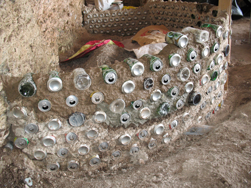 earthship can and bottle walls